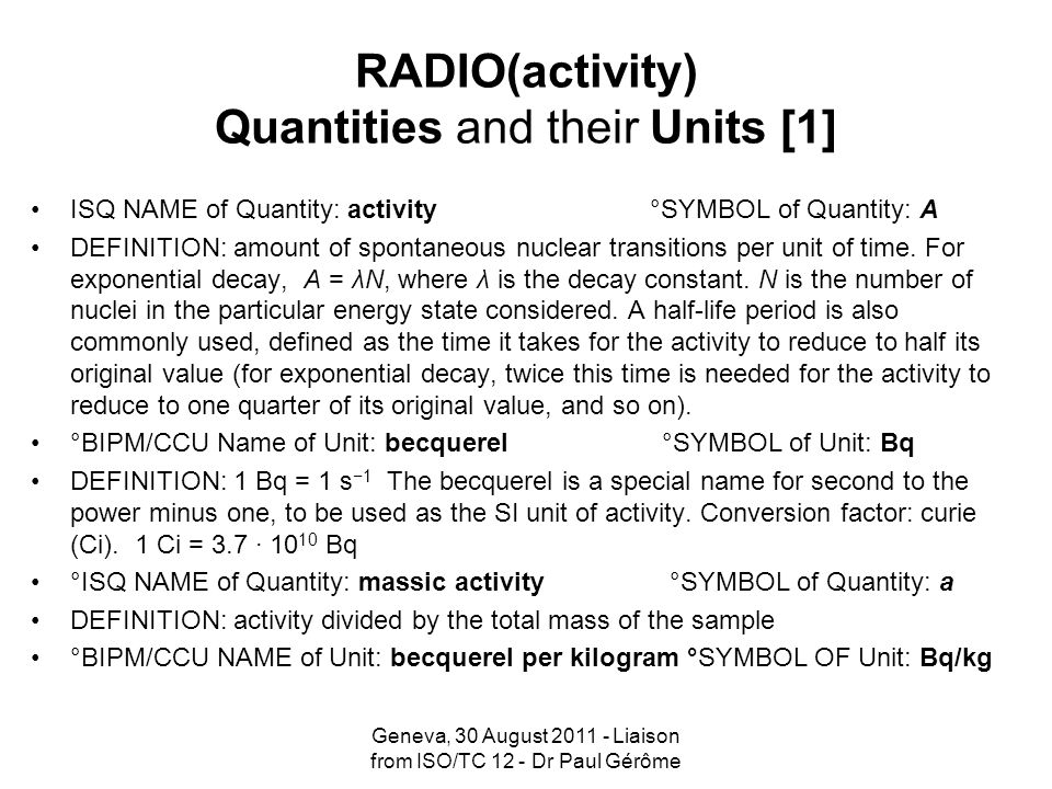 RADIO(activity) Quantities and their Units [1]